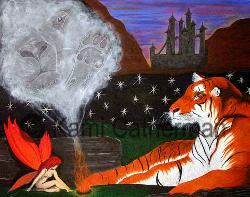 Fantasy painting of a tiger